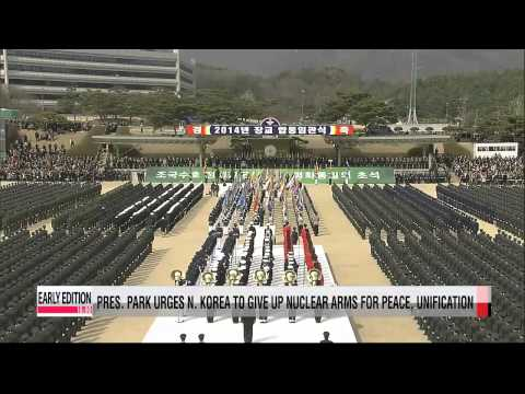 President Park urges North Korea to give up nuclear arms for peace, reunification