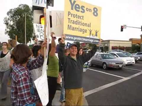Santa Clarita - No on Prop 8 rally gets challenged by ME