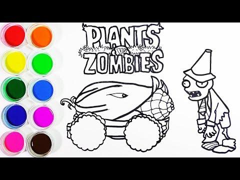 Cómo Dibujar y Colorear Mazorcañón de PVZ - Dibujos Para Niños - Learn Colors / FunKeep