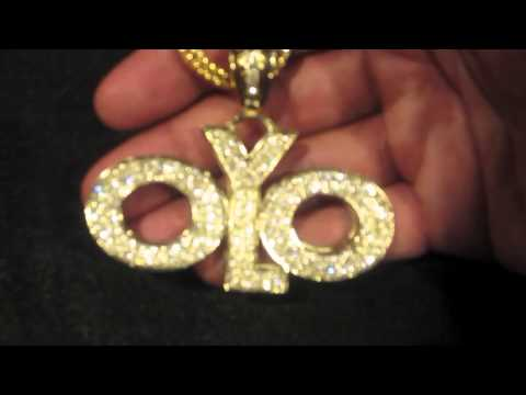 Exclusive Lab made gold YOLO YOU ONLY LIVE ONCE Drake The motto necklace chain pendant
