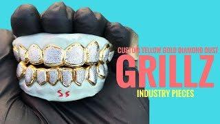 Custom Diamond Dust Grillz (Yellow Gold) - Industry Pieces