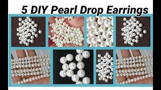 5 DIY Pearl Drop Earrings Making at home