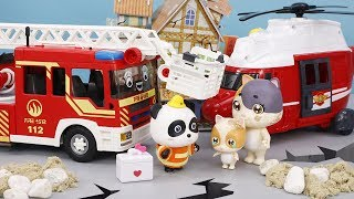 Super Panda Rescue Team | Earthquake Safety Tips | Firefighters, Doctor Cartoon | Car Toys #ToyBus