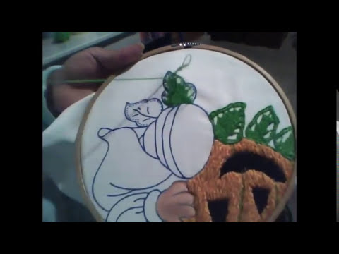 bordado de fantasia 13 video puntada para hojas o pétalos
