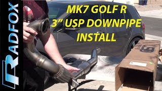 """2016 Golf R 3"""" USP Catted Downpipe Install on jackstands"""