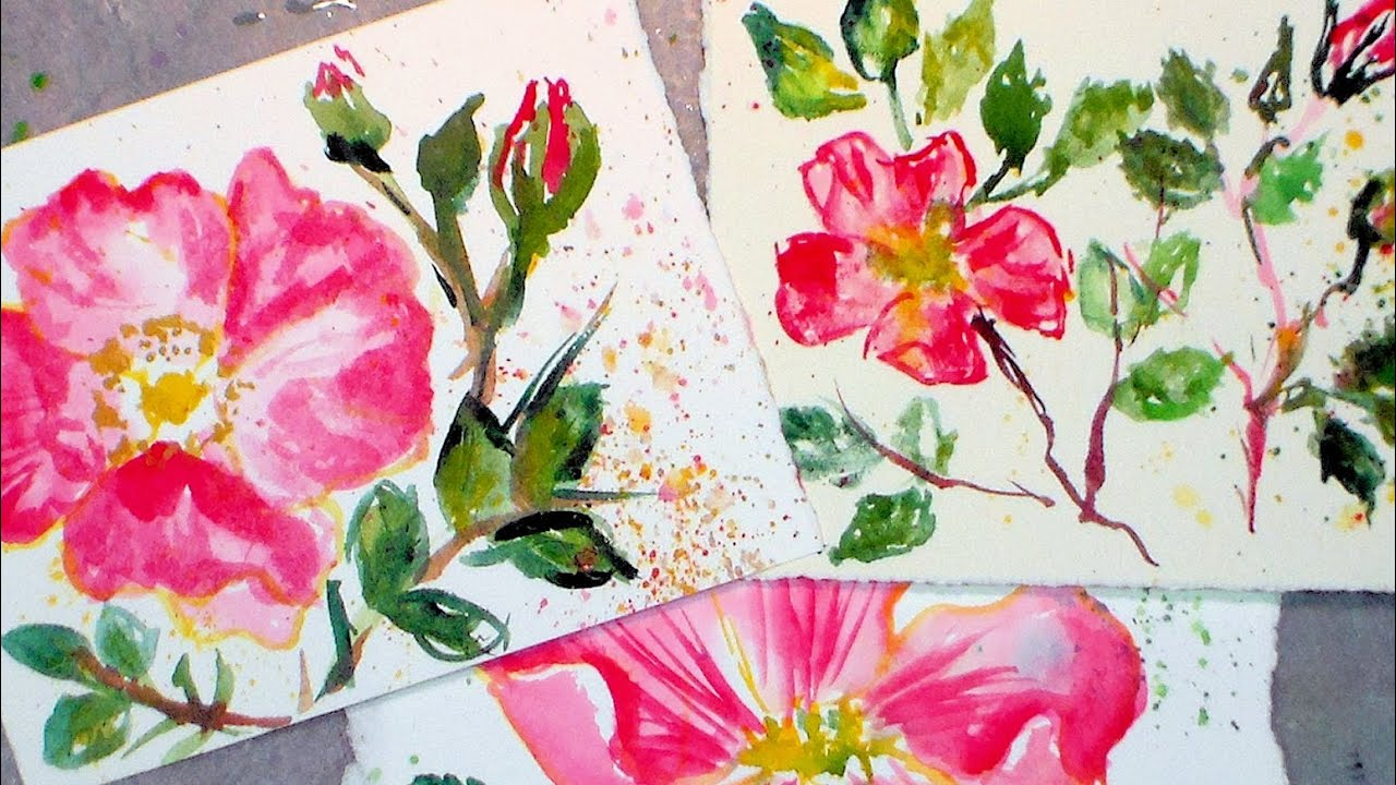 How to paint beach roses in watercolor easy tutorial for Easy way to paint a rose