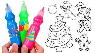DRAW AND COLOR 🎄🌈 Coloring in Picture of Christmas Tree and Gingerbread Men | Coloring Book