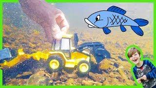 Backhoe Construction Truck Digging Underwater for Kids