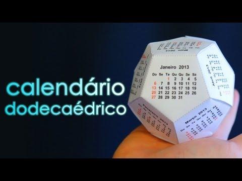 Como fazer um calendário 3D de 12 pentágonos (calendário dodecaédrico)