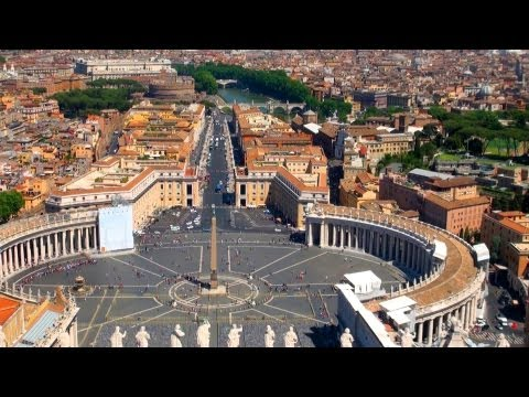 Great views of VATICAN City, St. Peter's Basilica, Rome - [HD]