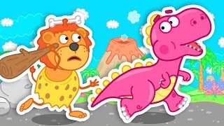 Lion Family Time Travel to Dinosaurs Time Cartoon for Kids