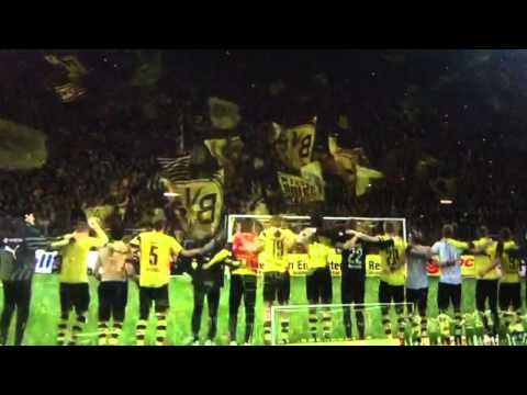 Dortmund fans and players singing Jingle Bells