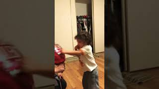 2yr old boxing/ Ace practices on valentines balloon