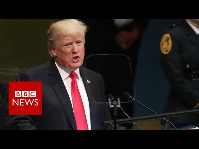 President Donald Trump gets unexpected laugh at United Nations - BBC News