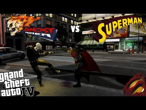 GTA 4 Ghost Rider Mod vs Injustice Superman Mod - Evil Superman Fights Ghost Rider