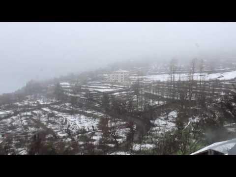 Snowfall in Kalpa, Himachal Pradesh