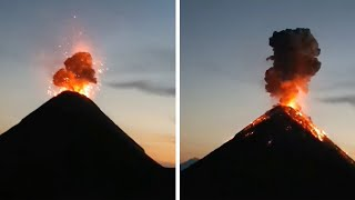 Backpackers Camp Under Erupting Volcano