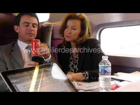 Valérie Trierweiler avec Hollande Valls et Morelle