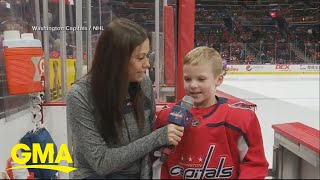 Youth hockey player steals the show at NHL game l GMA