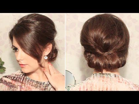 Прическа на длинные волосы в стиле 60х