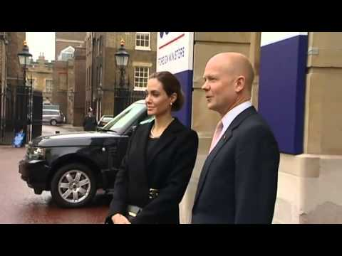 Angelina Jolie Meets William Hague as She Arrives at G8