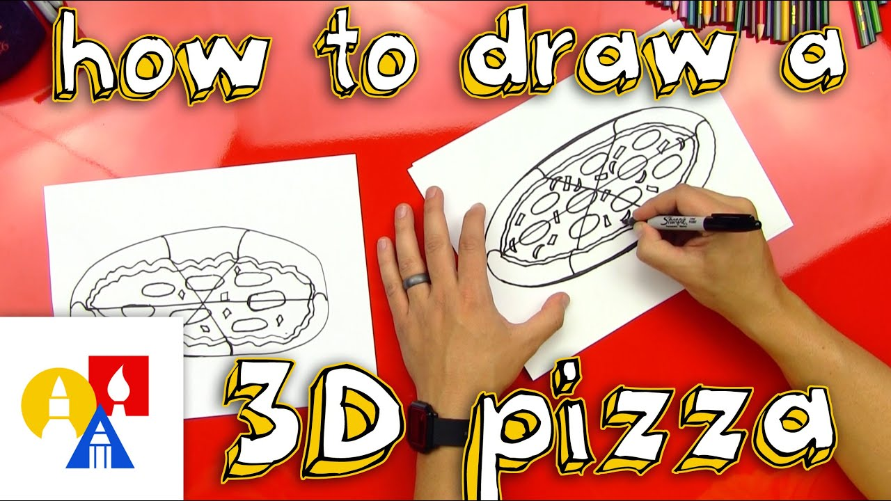 How to draw a 3d pizza youtube for How to make a good painting