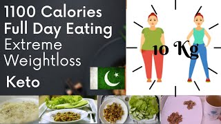 1100 Calories Keto| Extreme Weight Loss Series| Full Day of Eating| 3 Meals + Snack|