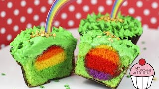 Surprise RAINBOW Cupcakes - A Rainbow Baked INSIDE a Cupcake - St Patties Day Special