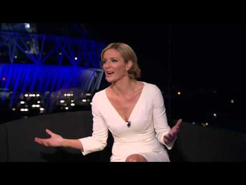 Gabby Logan (Yorath) looking sexy with cleavage on BBC Olympics HD clip 1