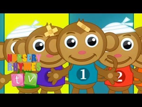 The best FIVE LITTLE MONKEYS | Nursery Rhymes TV. Cute Baby...