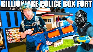 BILLIONAIRE Box Fort Police STATION NERF Stopping Crime - 24 Hour Box Fort City Challenge