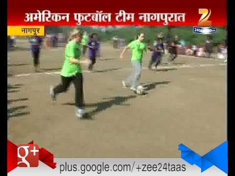 Nagpur : American Girls Football Team Teaching Football Slum Soccer