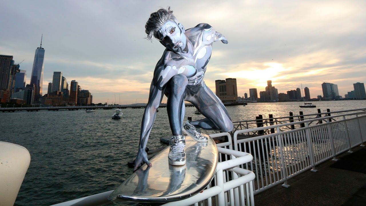 Dude Dressed Up As Silver Surfer For Halloween And Then Surfed Around NYC