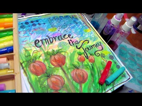 Embrace The Journey Art Journal page with Stencils Gelatos and ink mixed media page