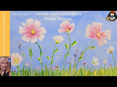 Wildflowers Acrylic Painting Tutorial for beginners step by step flowers and sky Lesson 1