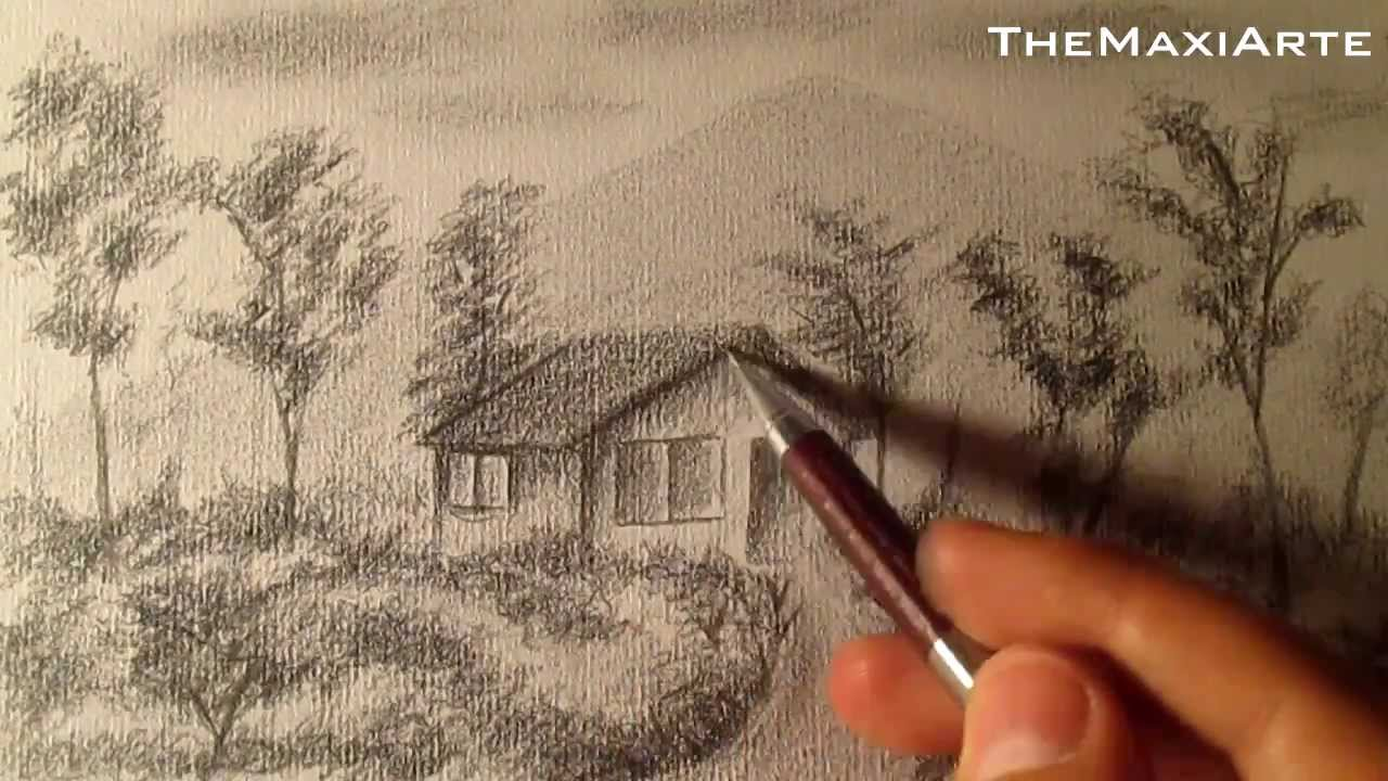 Cómo dibujar un sencillo paisaje a lápiz, cómo dibujar bocetos de