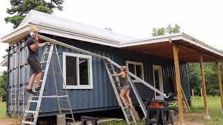 Catching Water Off Our SHIPPING CONTAINER HOME!