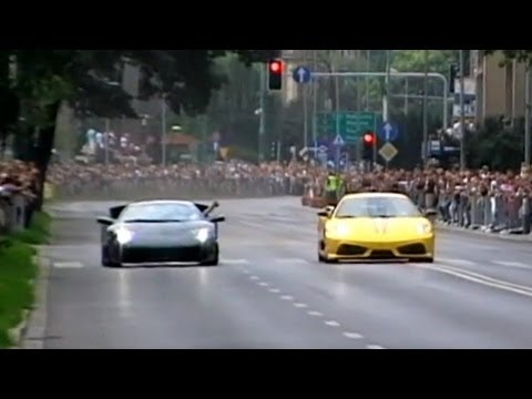 SUPERCARS on the street at GT Polonia - PURE SOUND DOUGHNUTS ETC.  PART 1