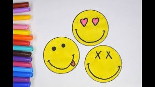 How to draw a smiley, emoji hearts tongue and crosses