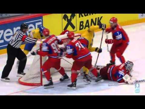Dmitri Kalinin crosschecks Johan Franzén [ IIHF 2012 ]