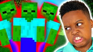 ZOMBIES BOUT TO EAT OUR BRAINS IN MINECRAFT