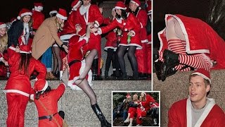 Girls dressed as Saint Nick might have to go on the naughty list at London's drunken 'Santacon'