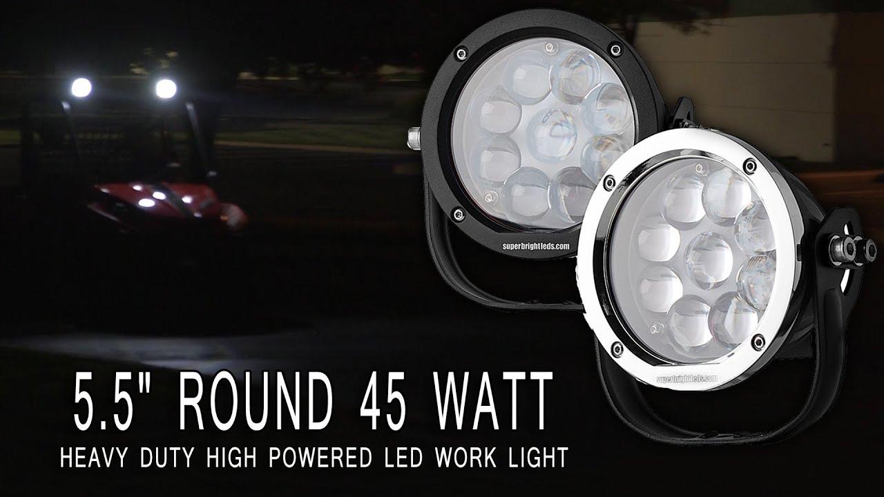 5 5 Round 45w Heavy Duty High Powered Led Work Light Youtube