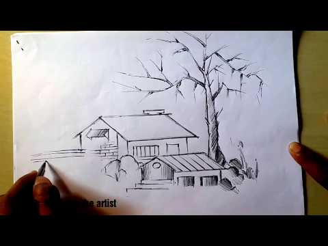 Pencil sketch drawing how to draw village house step by step.