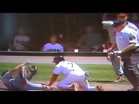 http://www.courtsidetweets.com Milt Cuyler combines with Chris Gomez and Mickey Tettleton of the Detroit Tigers to get Kenny Lofton of the Cleveland Indians out at home plate! This is definitely...
