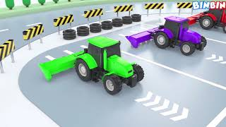 Water Tank Truck & Tractor Colours for Children to Learn with Farm Vehicles