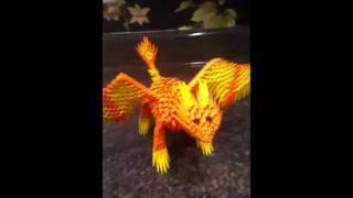 3d Origami Fiery Dragon
