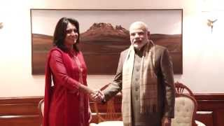 Representative of U.S. Congress Tulsi Gabbard calls on PM Modi