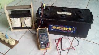 Carregador de baterias caseiro carregando bateria de 160 amperes