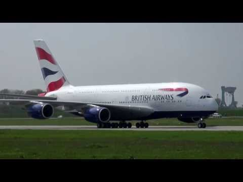 New First British Airways Airbus A 380 G-XLEA Rejected Take off (RTO) at XFW